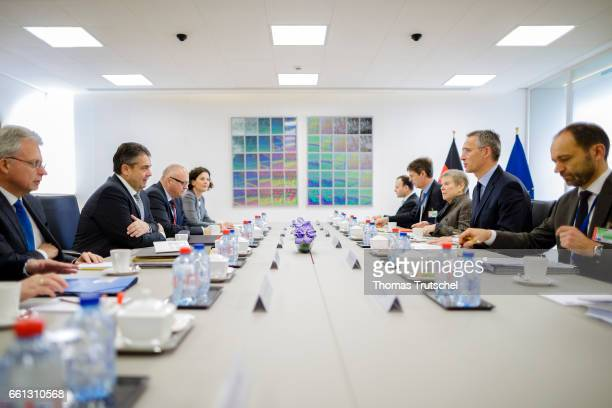 German Foreign Minister and Vice Chancellor Sigmar Gabriel meets with North Atlantic Treaty Organization Secretary General Jens Stoltenberg prior a...