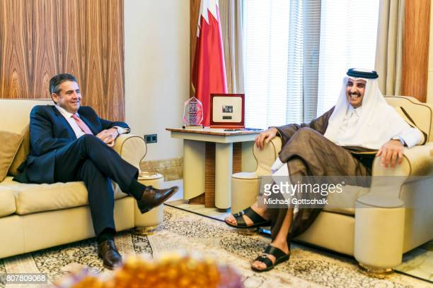 German Foreign Minister and Vice Chancellor Sigmar Gabriel meets with Emir of Quatar Sheik Tamim bin Hamad bin Khalifa Al Thani on July 04 2017 in...