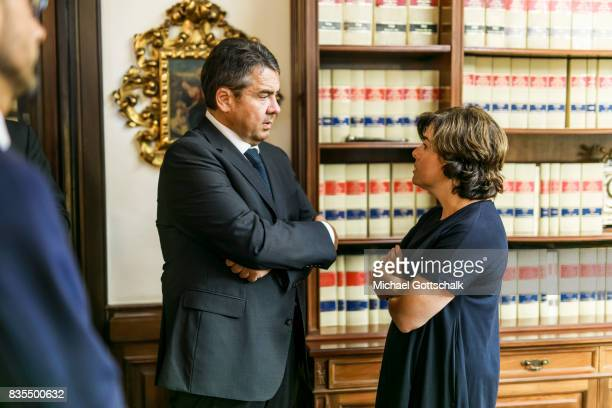 German Foreign Minister and Vice Chancellor Sigmar Gabriel meets with Spanish Vice President Soraya Saenz de Santamaria during his visit to Barcelona...