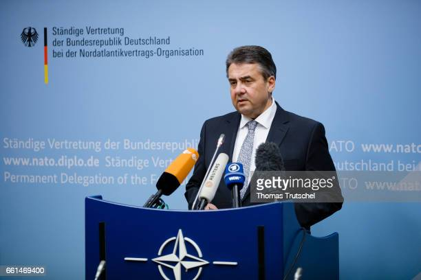 German Foreign Minister and Vice Chancellor Sigmar Gabriel speaks to the media during a North Atlantic Treaty Organization Foreign Affairs Ministers...