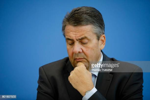 German Foreign Minister and Vice Chancellor Sigmar Gabriel speaks to the media on June 27 2017 in Berlin Germany