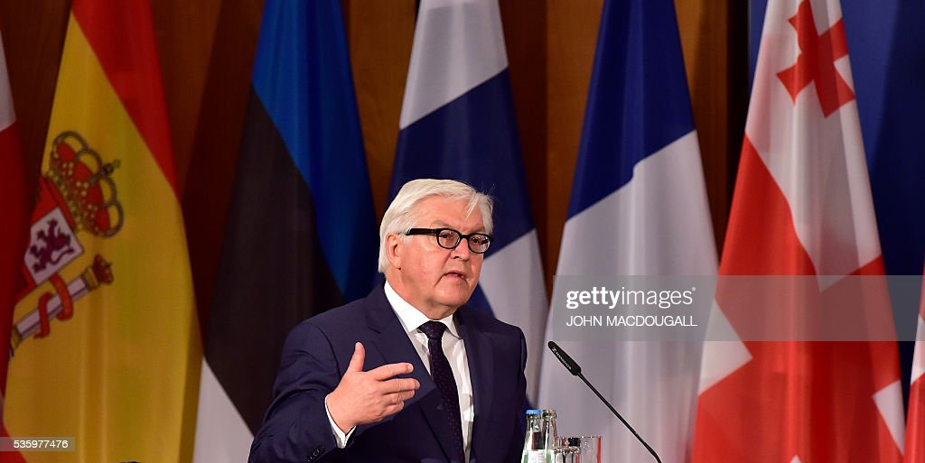 German Foreign Minister Frank-Walter Steinmeier addresses delegates during the opening session of the two-day Counter-Terrorism Conference of the Organisation for Security and Cooperation in Europe (OSCE) at the foreign ministry in Berlin on May 31, 2016. / AFP / John MACDOUGALL