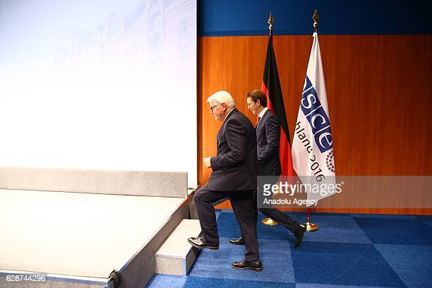 German Foreign Minister FrankWalter Steinmeier and Austrian Foreign Minister Sebastian Kurz arrive at a press conference during the OSCE Ministerial...