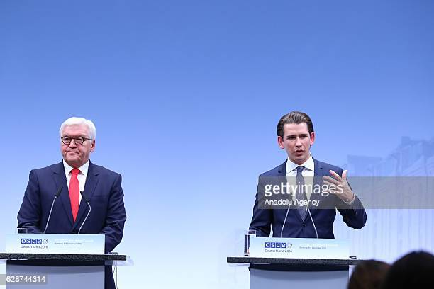 German Foreign Minister FrankWalter Steinmeier and Austrian Foreign Minister Sebastian Kurz hold a press conference during the OSCE Ministerial...