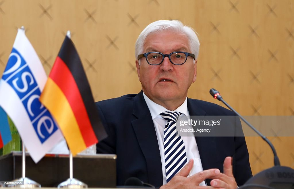 German Foreign Minister Frank-Walter Steinmeier and Azerbaijan's Foreign Minister Elmar Memmedyarov (not seen) hold a joint press conference after their meeting in Baku, Azerbaijan on June 30, 2016.