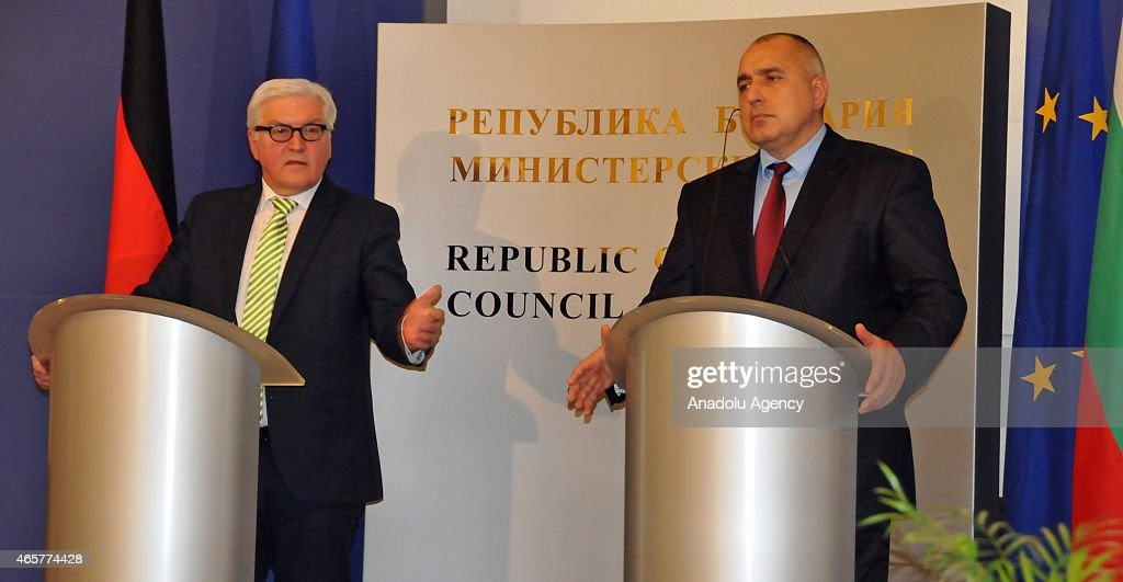 German Foreign Minister <a gi-track='captionPersonalityLinkClicked' href=/galleries/search?phrase=Frank-Walter+Steinmeier&family=editorial&specificpeople=603500 ng-click='$event.stopPropagation()'>Frank-Walter Steinmeier</a> (L) and Bulgaria's Prime Minister <a gi-track='captionPersonalityLinkClicked' href=/galleries/search?phrase=Boyko+Borisov&family=editorial&specificpeople=5906164 ng-click='$event.stopPropagation()'>Boyko Borisov</a> (R) hold a press conference in Sofia, Bulgaria, on March 10, 2015.