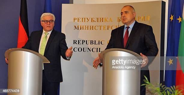 German Foreign Minister FrankWalter Steinmeier and Bulgaria's Prime Minister Boyko Borisov hold a press conference in Sofia Bulgaria on March 10 2015