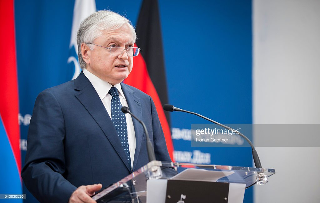 German Foreign Minister Frank-Walter Steinmeier (not pictured) and Edward Nalbandian, Foreign Minister of Armenia, speak to the media on June 29, 2016 in Yerewan, Armenia. He visits the south caucasian countries Armenia, Azerbaijan and Georgia for political conversations.