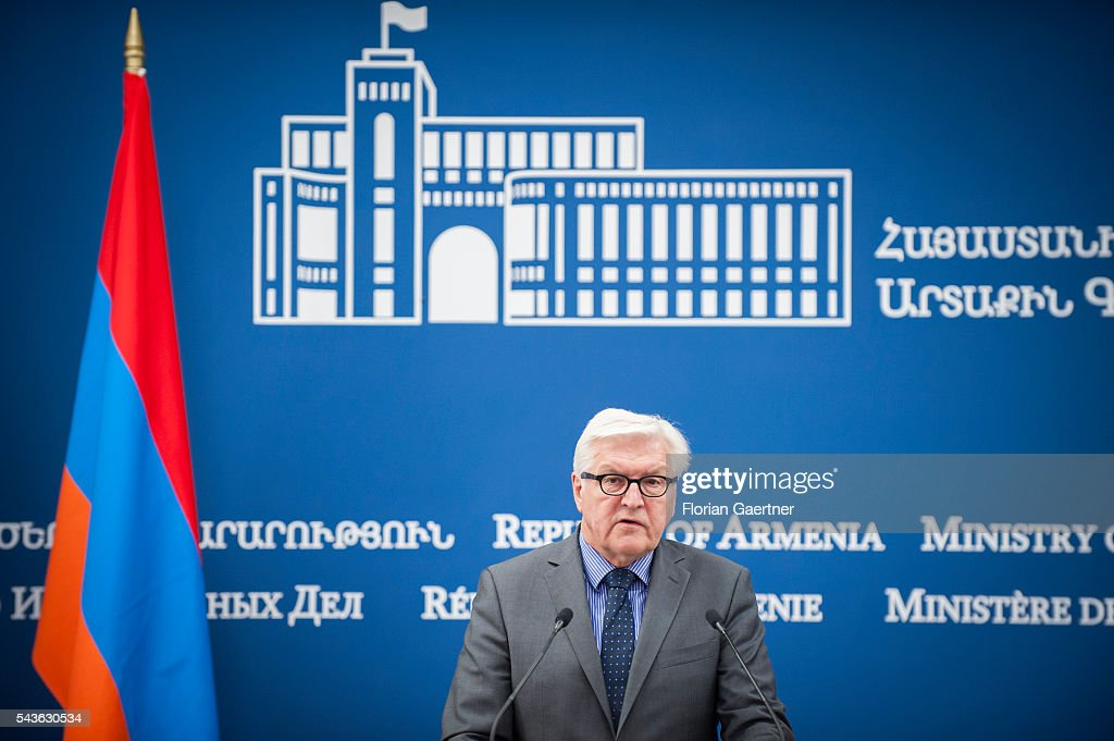 German Foreign Minister <a gi-track='captionPersonalityLinkClicked' href=/galleries/search?phrase=Frank-Walter+Steinmeier&family=editorial&specificpeople=603500 ng-click='$event.stopPropagation()'>Frank-Walter Steinmeier</a> and Edward Nalbandian (not pictured), Foreign Minister of Armenia, speak to the media on June 29, 2016 in Yerewan, Armenia. He visits the south caucasian countries Armenia, Azerbaijan and Georgia for political conversations.