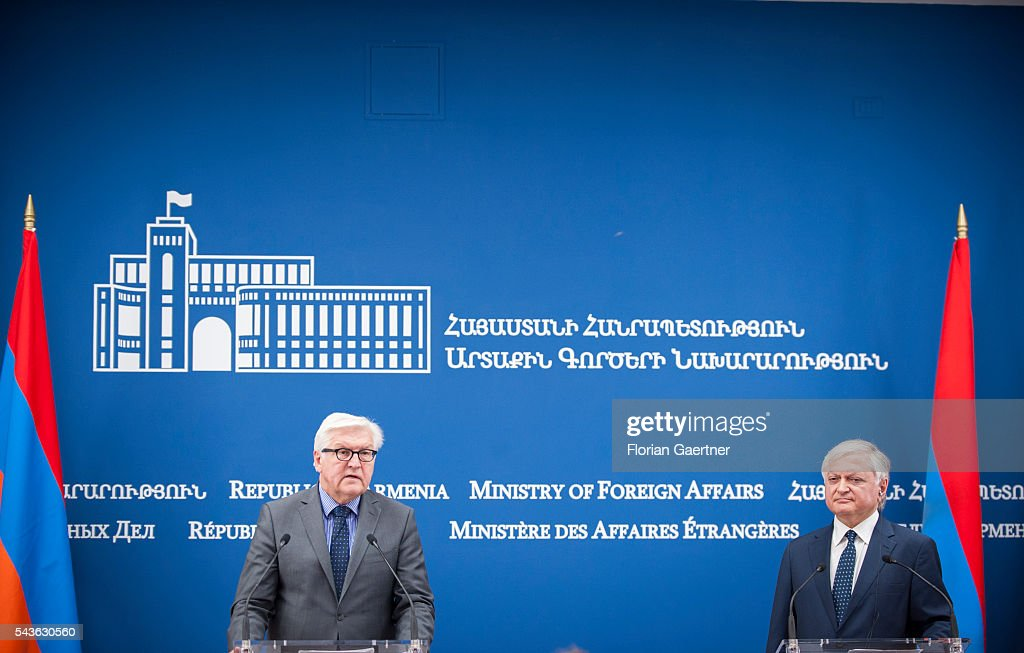 German Foreign Minister Frank-Walter Steinmeier (L) and Edward Nalbandian (R), Foreign Minister of Armenia, speak to the media on June 29, 2016 in Yerewan, Armenia. He visits the south caucasian countries Armenia, Azerbaijan and Georgia for political conversations.