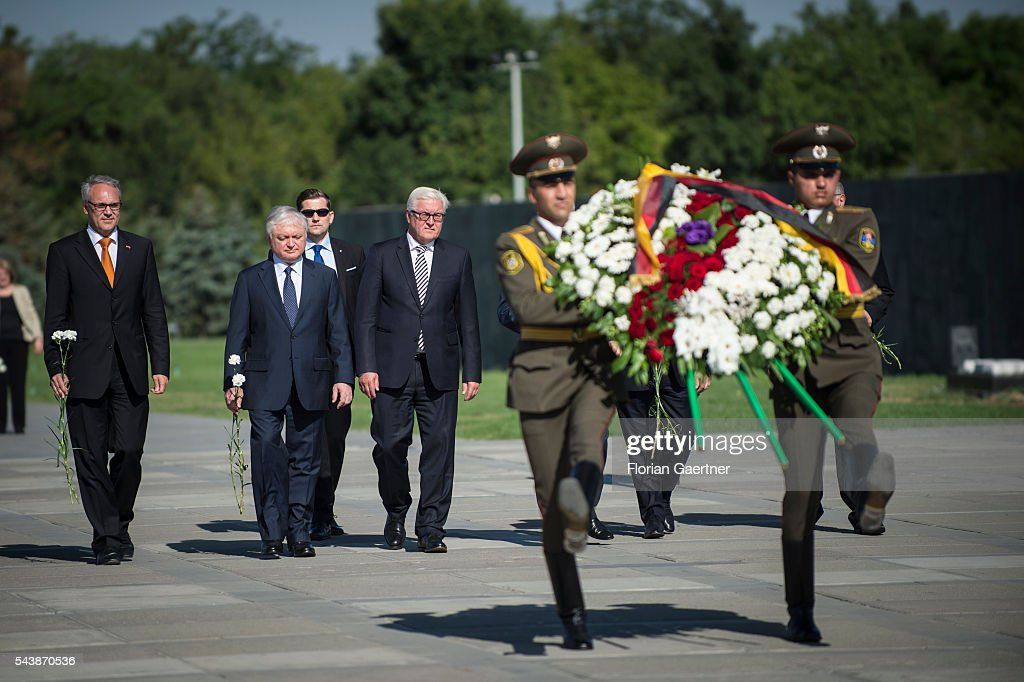 German Foreign Minister Frank-Walter Steinmeier (R) and Edward Nalbandian (L), Foreign Minister of Armenia, takes part in a wreath laying in front of the genocid monument on June 30, 2016 in Yerewan, Armenia. He visits the south caucasian countries Armenia, Azerbaijan and Georgia for political conversations.