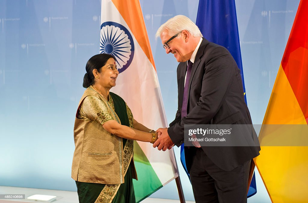 German Foreign Minister <a gi-track='captionPersonalityLinkClicked' href=/galleries/search?phrase=Frank-Walter+Steinmeier&family=editorial&specificpeople=603500 ng-click='$event.stopPropagation()'>Frank-Walter Steinmeier</a> and Foreign Minister of India, <a gi-track='captionPersonalityLinkClicked' href=/galleries/search?phrase=Sushma+Swaraj&family=editorial&specificpeople=2147656 ng-click='$event.stopPropagation()'>Sushma Swaraj</a>, meet in German Foreign Office on August 26, 2015 in Berlin, Germany.
