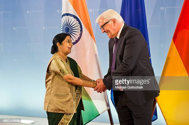 German Foreign Minister FrankWalter Steinmeier and Foreign Minister of India Sushma Swaraj meet in German Foreign Office on August 26 2015 in Berlin...