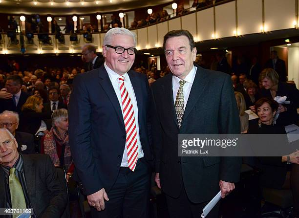 German Foreign Minister FrankWalter Steinmeier and former German chancellor Gerhard Schroeder at a celebration hosted by Die Zeit newspaper on the...