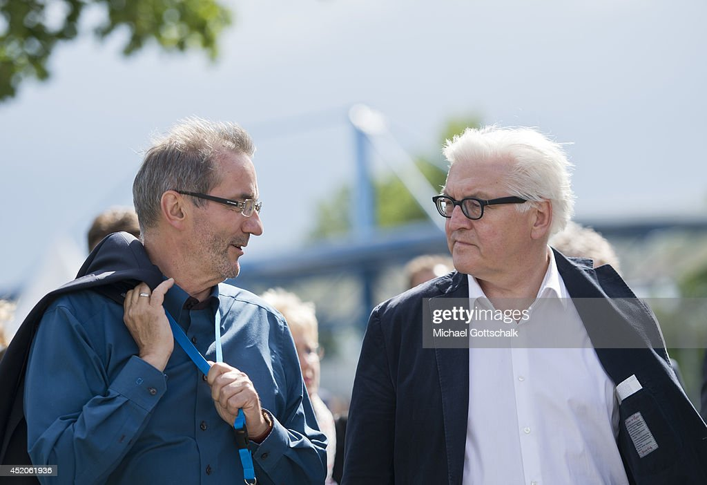 German Foreign Minister <a gi-track='captionPersonalityLinkClicked' href=/galleries/search?phrase=Frank-Walter+Steinmeier&family=editorial&specificpeople=603500 ng-click='$event.stopPropagation()'>Frank-Walter Steinmeier</a> and former Prime Minister of German State Brandenburg, <a gi-track='captionPersonalityLinkClicked' href=/galleries/search?phrase=Matthias+Platzeck&family=editorial&specificpeople=605525 ng-click='$event.stopPropagation()'>Matthias Platzeck</a>, attend the 2014 Canoe Sprint Seniors European Championships on July 12, 2014 in Brandenburg an der Havel, Germany.