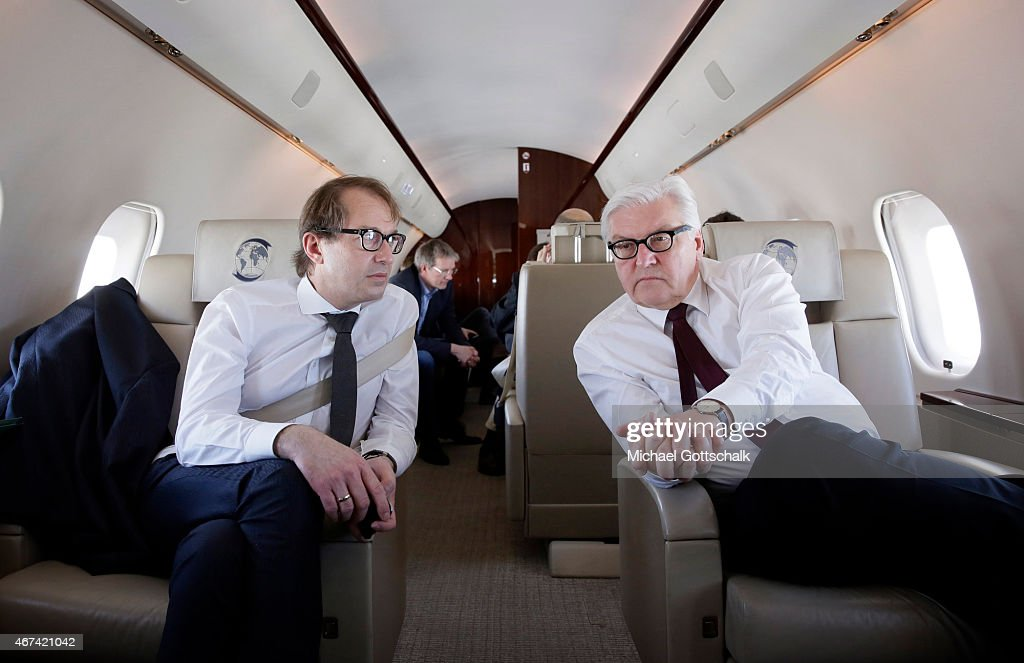 German Foreign Minister <a gi-track='captionPersonalityLinkClicked' href=/galleries/search?phrase=Frank-Walter+Steinmeier&family=editorial&specificpeople=603500 ng-click='$event.stopPropagation()'>Frank-Walter Steinmeier</a> and German Transport Minister <a gi-track='captionPersonalityLinkClicked' href=/galleries/search?phrase=Alexander+Dobrindt&family=editorial&specificpeople=5702301 ng-click='$event.stopPropagation()'>Alexander Dobrindt</a> (L) sit in a plane of german government during their flight from Berlin to Marseille on March 24, 2015 in Marseille, France. Steinmeier and Dobrint will visit the crash site of the Germanwings Airbus A320 that crashed in the Southern French Alps with 150 people on board.