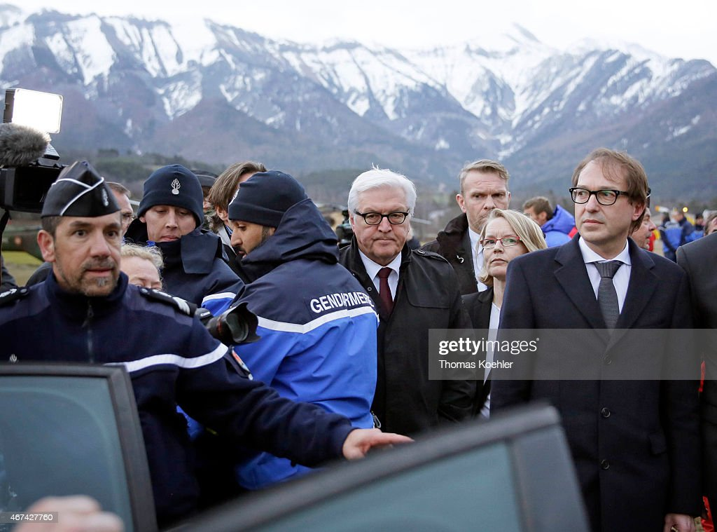 German Foreign Minister <a gi-track='captionPersonalityLinkClicked' href=/galleries/search?phrase=Frank-Walter+Steinmeier&family=editorial&specificpeople=603500 ng-click='$event.stopPropagation()'>Frank-Walter Steinmeier</a>, and German Transport Minister <a gi-track='captionPersonalityLinkClicked' href=/galleries/search?phrase=Alexander+Dobrindt&family=editorial&specificpeople=5702301 ng-click='$event.stopPropagation()'>Alexander Dobrindt</a> at the situation centre in Seyne Les Alpes on March 24, 2015 in Seyne Les Alpes, France. German Foreign Minister Steinmeier visited the site of a Germanwings Airbus A320 airliner which crashed with 150 people on board in the French Alps.