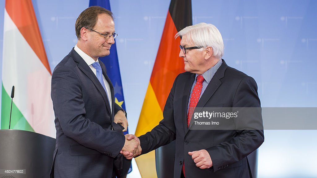 German Foreign Minister <a gi-track='captionPersonalityLinkClicked' href=/galleries/search?phrase=Frank-Walter+Steinmeier&family=editorial&specificpeople=603500 ng-click='$event.stopPropagation()'>Frank-Walter Steinmeier</a> (R ) and Hungarian Foreign Minister Tibor Navracsics (L) participate in a press conference at the foreign ministry on July 21, 2014 in Berlin, Germany.