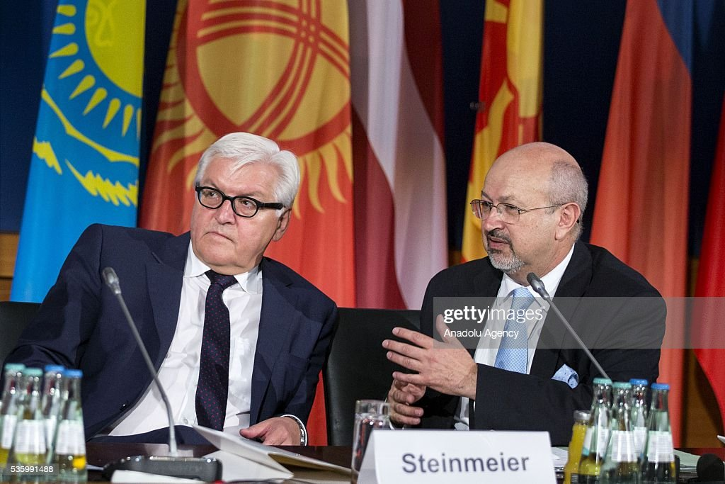 German Foreign Minister Frank-Walter Steinmeier (L), and OSCE Secretary General Lamberto Zannier (R) attend the Counter-Terrorism Conference of the Organisation for Security and Cooperation in Europe (OSCE) at the foreign ministry in Berlin, Germany on May 31, 2016.