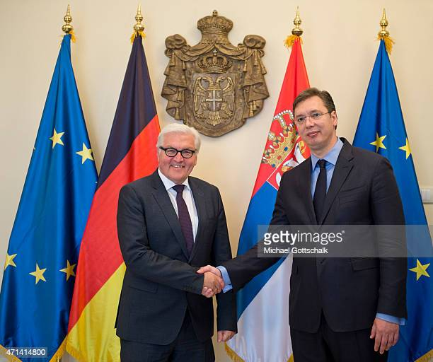 German Foreign Minister FrankWalter Steinmeier and Prime Minister of Serbia Aleksandar Vucic meet on April 28 2015 in Belgrade Serbia The German...