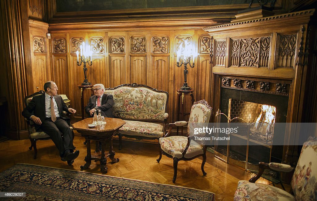 German Foreign Minister FrankWalter Steinmeier and Russian Foreign Minister Sergey Lavrov are pictured during a meeting on February 12 2014 in Moscow...