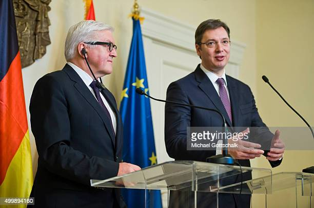 German Foreign Minister FrankWalter Steinmeier and Serbias Minister President Aleksandar Vucic attend a press conference during Steinmeiers visit to...