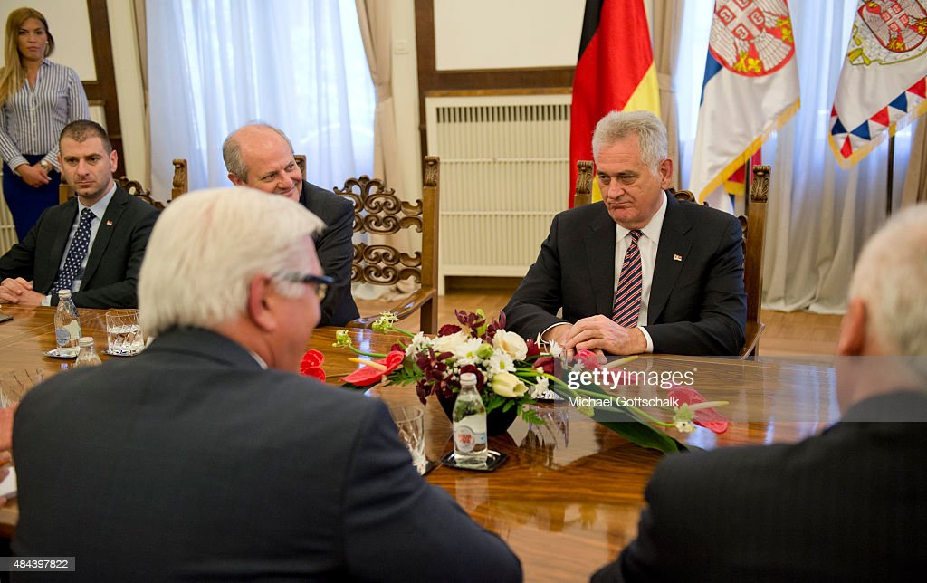 German Foreign Minister <a gi-track='captionPersonalityLinkClicked' href=/galleries/search?phrase=Frank-Walter+Steinmeier&family=editorial&specificpeople=603500 ng-click='$event.stopPropagation()'>Frank-Walter Steinmeier</a> and Serbias President <a gi-track='captionPersonalityLinkClicked' href=/galleries/search?phrase=Tomislav+Nikolic&family=editorial&specificpeople=801987 ng-click='$event.stopPropagation()'>Tomislav Nikolic</a> (R) meet in New Palace on April 28, 2015 in Belgrade, Serbia.