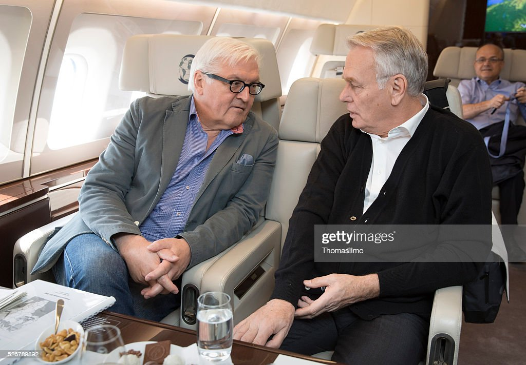 German Foreign Minister Frank-Walter Steinmeier (L) and the French Foreign Minister Marc Ayrault ( R) want to travel to Mali and Niger on May 01, 2016 in Berlin, Germany. The plane of French-German delegation aborted take-off after a blowout.