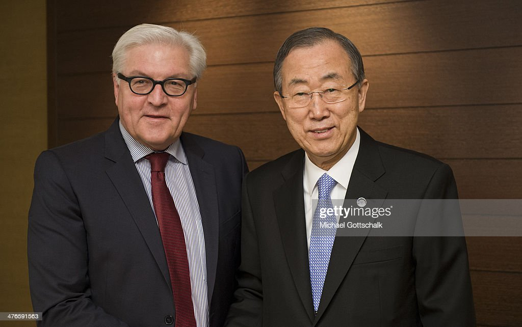 German Foreign Minister <a gi-track='captionPersonalityLinkClicked' href=/galleries/search?phrase=Frank-Walter+Steinmeier&family=editorial&specificpeople=603500 ng-click='$event.stopPropagation()'>Frank-Walter Steinmeier</a> (L) and UN Secretary General <a gi-track='captionPersonalityLinkClicked' href=/galleries/search?phrase=Ban+Ki-Moon&family=editorial&specificpeople=206144 ng-click='$event.stopPropagation()'>Ban Ki-Moon</a> meet on March 04, 2014 in Geneva, Switzerland. Steinmeier meets with several politicans due to Ukraine Crisis.