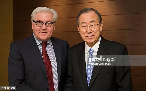 German Foreign Minister FrankWalter Steinmeier and UN Secretary General Ban KiMoon meet on March 04 2014 in Geneva Switzerland Steinmeier meets with...