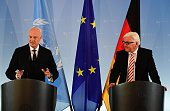German Foreign Minister FrankWalter Steinmeier and UN Special Envoy for Syria Staffan de Mistura give a joint press statement before a meeting in...