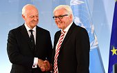 German Foreign Minister FrankWalter Steinmeier and UN Special Envoy for Syria Staffan de Mistura shake hands after a joint press statement before a...