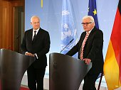 German Foreign Minister FrankWalter Steinmeier and UN Special Envoy for Syria Staffan de Mistura hold a joint press conference prior to their meeting...