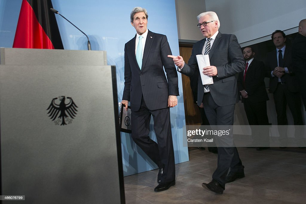 German Foreign Minister FrankWalter Steinmeier and United States counterpart Secretary of State John Kerry arrive to address a press conference on...