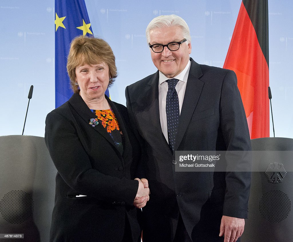 German Foreign Minister <a gi-track='captionPersonalityLinkClicked' href=/galleries/search?phrase=Frank-Walter+Steinmeier&family=editorial&specificpeople=603500 ng-click='$event.stopPropagation()'>Frank-Walter Steinmeier</a> and Vice President of the European Commission and High Representative of the Union for Foreign Affairs and security policy <a gi-track='captionPersonalityLinkClicked' href=/galleries/search?phrase=Catherine+Ashton&family=editorial&specificpeople=2314228 ng-click='$event.stopPropagation()'>Catherine Ashton</a> meet in the foreign office on May 02, 2014 in Berlin, Germany.