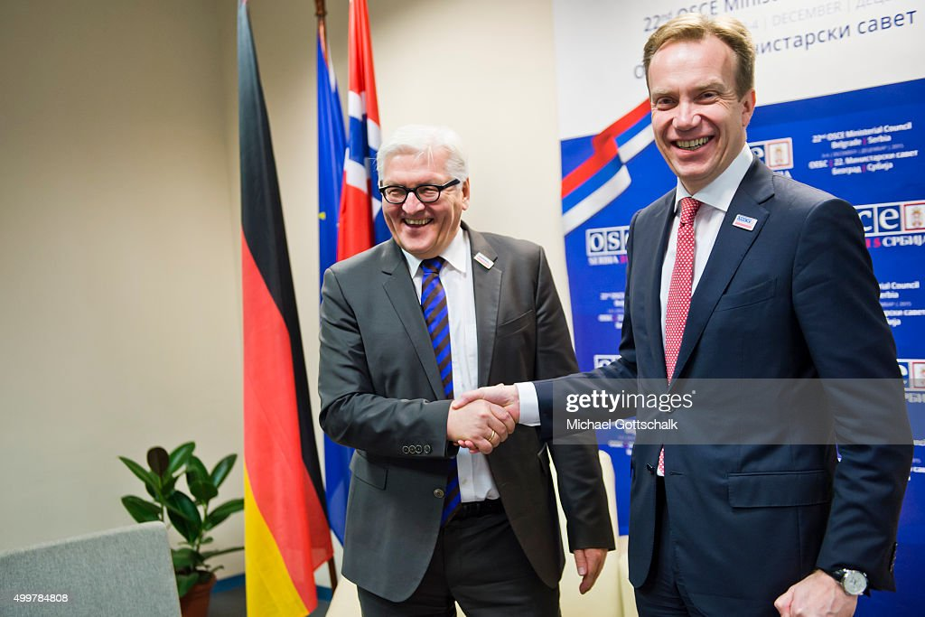 German Foreign Minister <a gi-track='captionPersonalityLinkClicked' href=/galleries/search?phrase=Frank-Walter+Steinmeier&family=editorial&specificpeople=603500 ng-click='$event.stopPropagation()'>Frank-Walter Steinmeier</a> ane Norways Foreign Minister Borge Brende (R) meet for bilateral talks during the Organization for Security and Cooperation in Europe (OSCE) 22nd Ministers Council Meeting on December 03, 2015 in Belgrade, Serbia.