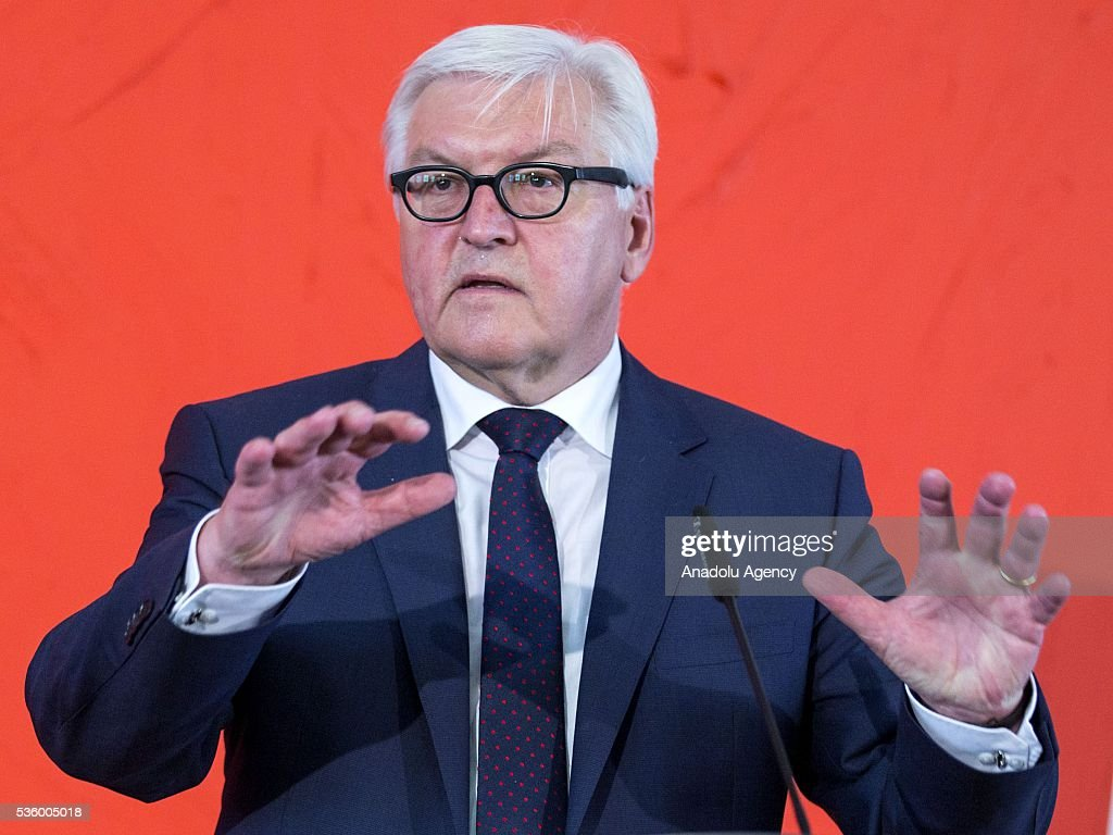 German Foreign Minister Frank-Walter Steinmeier answers the questions of the journalists during a press conference in Berlin, Germany on May 31, 2016.
