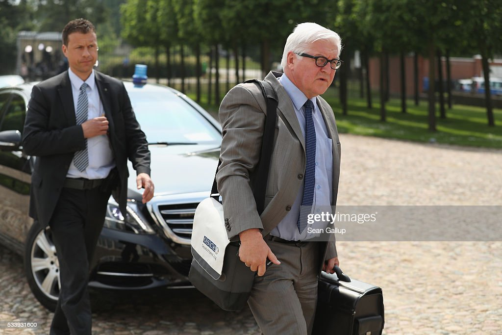 German Foreign Minister <a gi-track='captionPersonalityLinkClicked' href=/galleries/search?phrase=Frank-Walter+Steinmeier&family=editorial&specificpeople=603500 ng-click='$event.stopPropagation()'>Frank-Walter Steinmeier</a> arrives for a meeting of the government cabinet at Schloss Meseberg palace on May 24, 2016 near Gransee, Germany. The government cabinet is meeting at Schloss Meseberg for a two-day retreat.