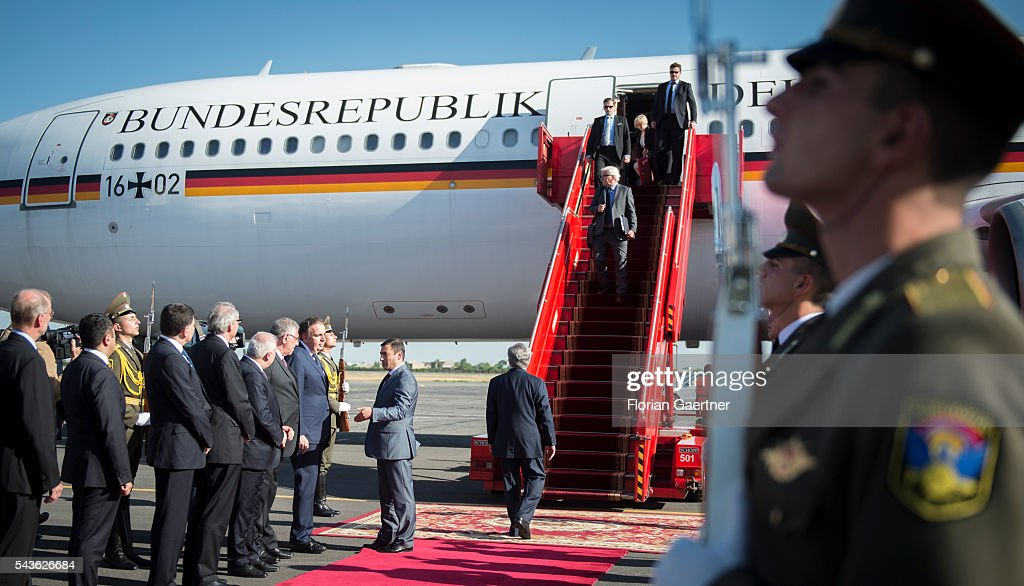 German Foreign Minister <a gi-track='captionPersonalityLinkClicked' href=/galleries/search?phrase=Frank-Walter+Steinmeier&family=editorial&specificpeople=603500 ng-click='$event.stopPropagation()'>Frank-Walter Steinmeier</a> arrives on June 29, 2016 in Yerewan, Armenia. Steinmeier is on a three-day visit to the South Caucasus countries Armenia, Azerbaijan and Georgia.