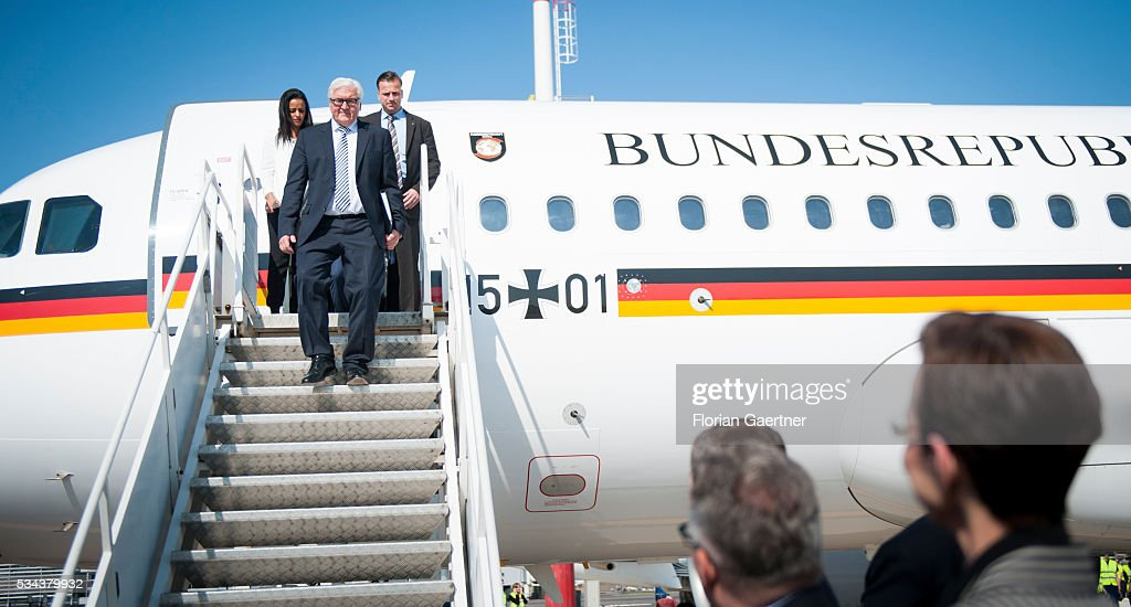 German Foreign Minister <a gi-track='captionPersonalityLinkClicked' href=/galleries/search?phrase=Frank-Walter+Steinmeier&family=editorial&specificpeople=603500 ng-click='$event.stopPropagation()'>Frank-Walter Steinmeier</a> arrives on May 26, 2016 in Vilnius, Lithuania. Steinmeier travels to Lithuania, Latvia and Estonia for political conversations.