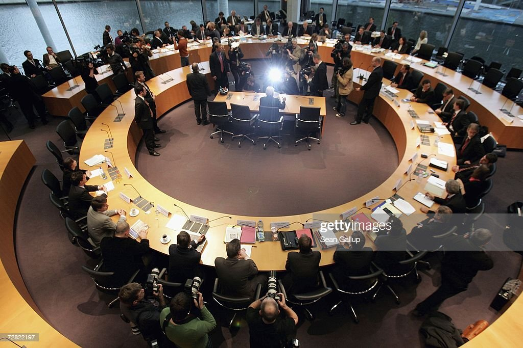 German Foreign Minister Frank-Walter Steinmeier (seated, center) arrives to testify at a session of parliamentary hearings into the case of Khalid El-Masri, a German citizen kidnnapped by the CIA, at the Bundestag December 14, 2006 in Berlin, Germany. El Masri was detained by the CIA in 2004 and held for several months at a prison for terrorists in Afghanistan, before being released following confirmation that he was not in fact the person the CIA had originally thought. The hearings now in Berlin are focusing on whether German officials at the time knew of or had a role in El Masri's detention.