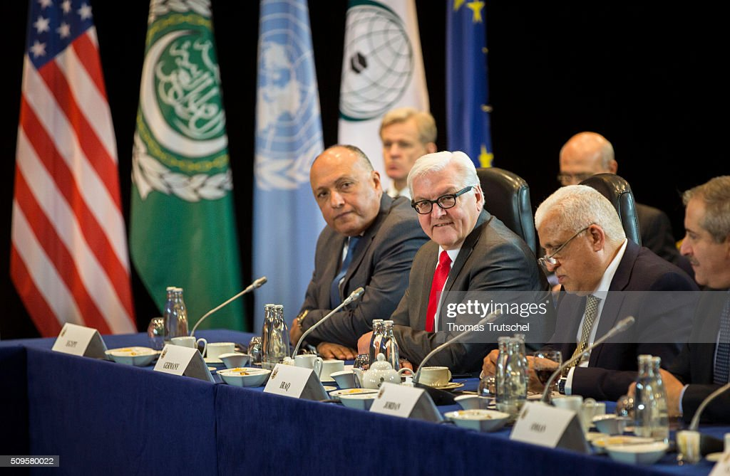 German Foreign Minister <a gi-track='captionPersonalityLinkClicked' href=/galleries/search?phrase=Frank-Walter+Steinmeier&family=editorial&specificpeople=603500 ng-click='$event.stopPropagation()'>Frank-Walter Steinmeier</a> (C) attends a meeting of the International Syria Support Group (ISSG) on Februar 11, 2016 in Munich, Germany. The participants will discuss the implementation of the Vienna principles, UN Security Council resolution 2254 on Syrian reconciliation and the continuation of the Geneva peace talks.