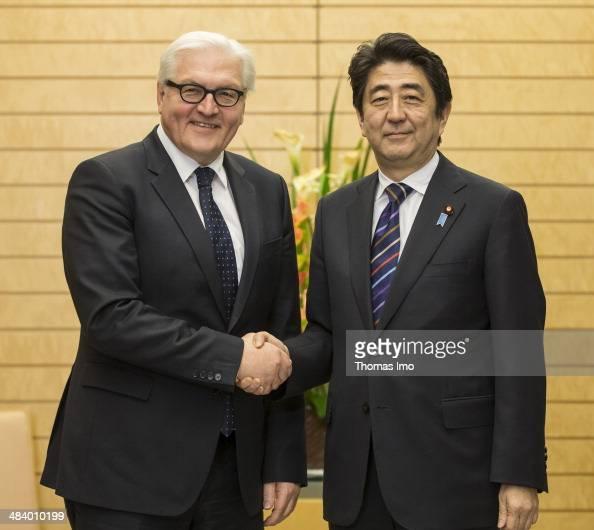 German Foreign Minister FrankWalter Steinmeier attends a meeting with Japanese Prime Minister Shinzo Abe on April 11 2014 in Tokyo Japan Steinmeier...