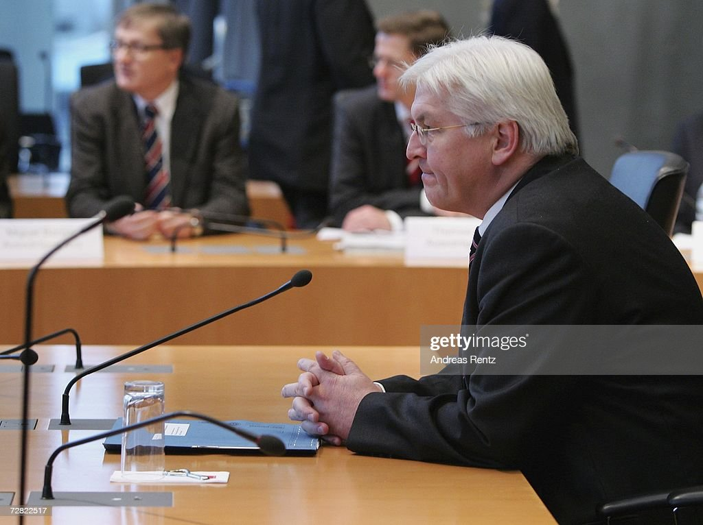 German Foreign Minister Frank-Walter Steinmeier attends the opening session of Bundestag hearings at Maria-Elisabeth-Lueders House on December 14, 2006 in Berlin, Germany. Steinmeier will testify at an inquiry into Germany's past and present governments known intelligence service activities that may have broken German law after the 2001 terror attacks. The lower house of parliament will question the alleged abduction by the U.S. Central Intelligence Agency of Khaled el-Masri, a German of Lebanese origin, to discover when the government found out about it.