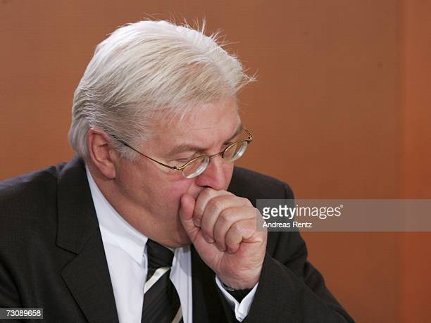 German Foreign Minister FrankWalter Steinmeier attends the weekly cabinet meeting at the Chancellery on January 24 2007 in Berlin Germany The cabinet...