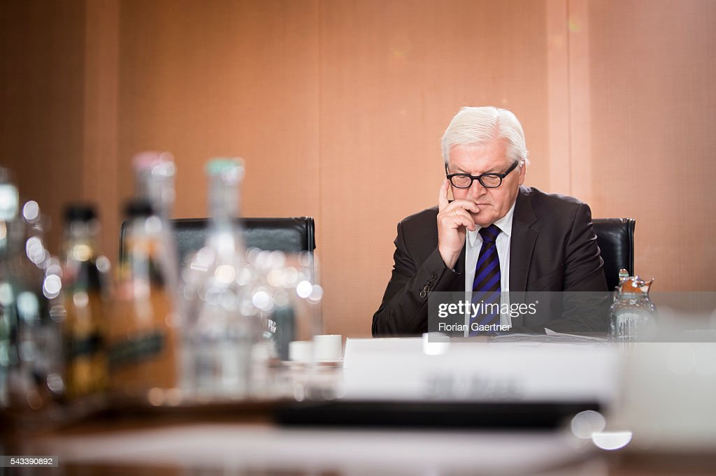 German Foreign Minister <a gi-track='captionPersonalityLinkClicked' href=/galleries/search?phrase=Frank-Walter+Steinmeier&family=editorial&specificpeople=603500 ng-click='$event.stopPropagation()'>Frank-Walter Steinmeier</a> before the weekly cabinet meeting at the chancellery (Bundeskanzleramt) on June 28, 2016 in Berlin, Germany.