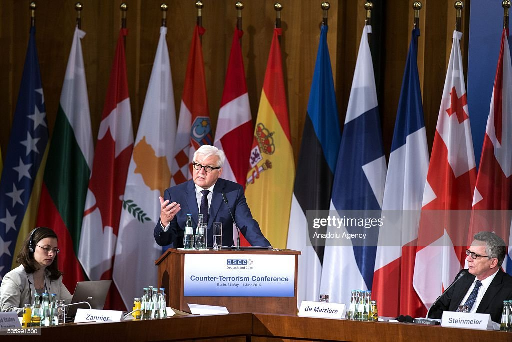 German Foreign Minister Frank-Walter Steinmeier (C) delivers a speech during the Counter-Terrorism Conference of the Organisation for Security and Cooperation in Europe (OSCE) at the foreign ministry in Berlin, Germany on May 31, 2016.