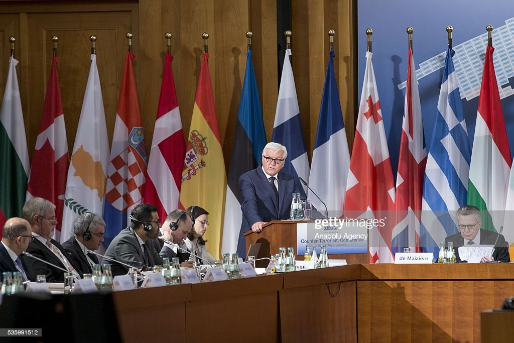 German Foreign Minister Frank-Walter Steinmeier (2nd R) delivers a speech during the Counter-Terrorism Conference of the Organisation for Security and Cooperation in Europe (OSCE) at the foreign ministry in Berlin, Germany on May 31, 2016.