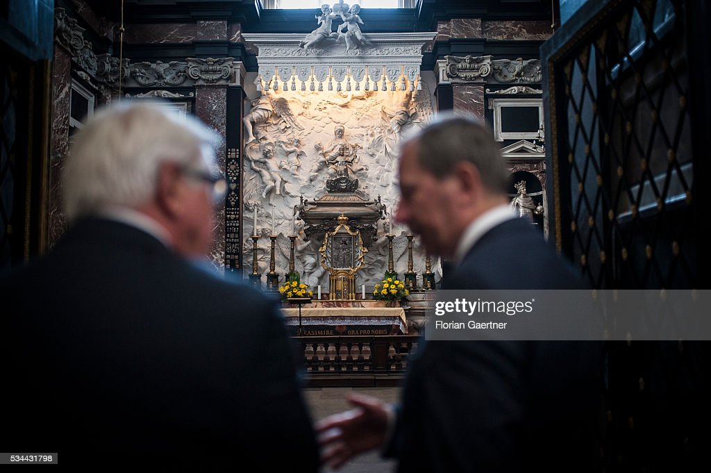 German Foreign Minister <a gi-track='captionPersonalityLinkClicked' href=/galleries/search?phrase=Frank-Walter+Steinmeier&family=editorial&specificpeople=603500 ng-click='$event.stopPropagation()'>Frank-Walter Steinmeier</a> does a small sightseeing tour at the oldtown on May 26, 2016 in Vilnius, Lithuania. Steinmeier travels to Lithuania, Latvia and Estonia for political conversations.