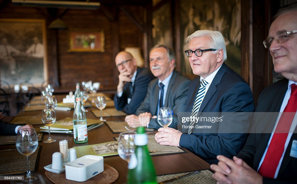 German Foreign Minister <a gi-track='captionPersonalityLinkClicked' href=/galleries/search?phrase=Frank-Walter+Steinmeier&family=editorial&specificpeople=603500 ng-click='$event.stopPropagation()'>Frank-Walter Steinmeier</a> during a lunch break on May 26, 2016 in Vilnius, Lithuania. Steinmeier travels to Lithuania, Latvia and Estonia for political conversations.